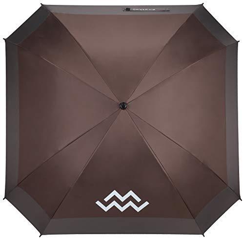 Mio Marino Extra Large Golf Umbrella Windproof - Square Umbrella - UV Protection - Automatic Open 62 Inch - for Men Women (Brown/Gray)
