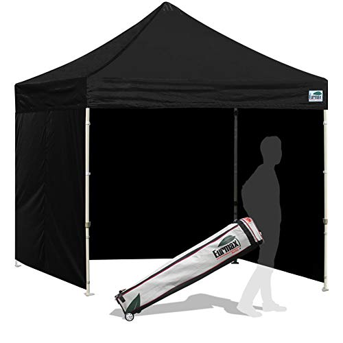 Eurmax Basic 8x8 Feet Ez Pop up Canopy, Party Tent, Commercial Gazebo with Sidewalls Bonus Roller Bag