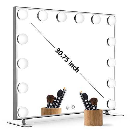 Nitin Lighted Vanity Mirror with Touch Control Design, Hollywood Style Makeup Mirrors with Lights, Tabletop or Wall Mounted Vanity Mirrors ()