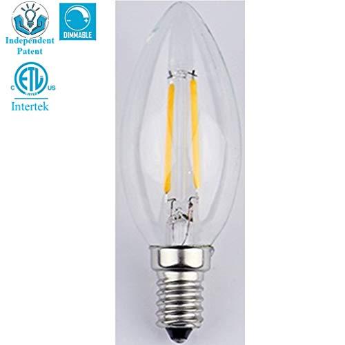 B10 Dimmable ETL LED Edison Bulb Filament Vintage Classic Light E26 Base 2.5Watt(25W Incandescent Equivalent) for Home Restaurant: 2700K Warm White, 220 Lumen, CRI>80ra Screw Clear Glass(1-Pack)