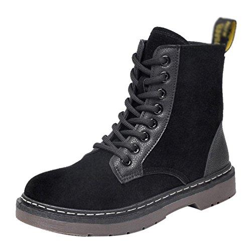 Baymate Mujeres Vintage Zapatos Antideslizante Martin Boots Botines Botas de Nieve Botas de combate de invierno Negro (Terciopelo)