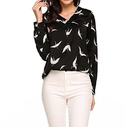 T Camicie Casual Maglietta A Bluse E Stampa Nero Maglie Manica Lunga shirt Primavera V Scollo Donne Autunno Tops Moda Cime Yqgw84Yx