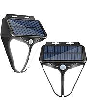 Hospop Solarlampen voor buiten, led-zonnelamp voor buiten, met bewegingsmelder, IP65 waterdicht, 3 modi, 2200 mAh, wandlamp, buitenlamp, zonnelicht voor tuin (2 stuks)