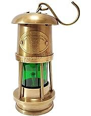 Handmade Brass Antique Miner Lamp Nautical Green Ship/Boat Oil Lantern Vintage Style Marine Oil Lamp