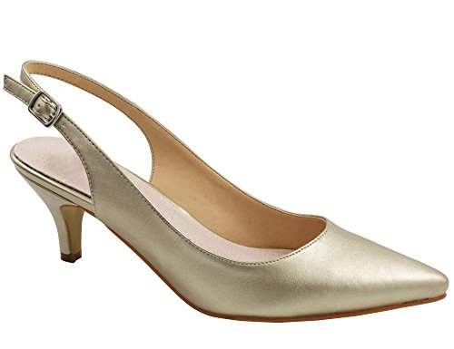 Greatonu Womens Gold Sexy Pointed Closed Toe Comfortable Slingback Pumps for Women Size 10