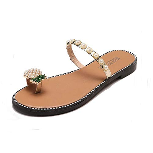 (Naimo Women's Pineapple Rhinestone Sandals Shiny Flat Slippers Summer Beach Clip Toe Flip Flops Gold)