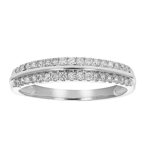 1/3 ctw AGS Certified I1-I2 Diamond Wedding Band Prong Set 14K White Gold Size 5