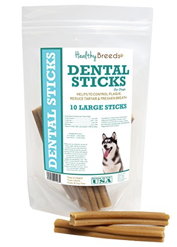 Healthy Breeds Dog Teeth Cleaning Stick Treats for Siberian Husky - OVER 200 BREEDS - Veterinarian Recommended - Grain Free - Made In USA - 10 Large ()