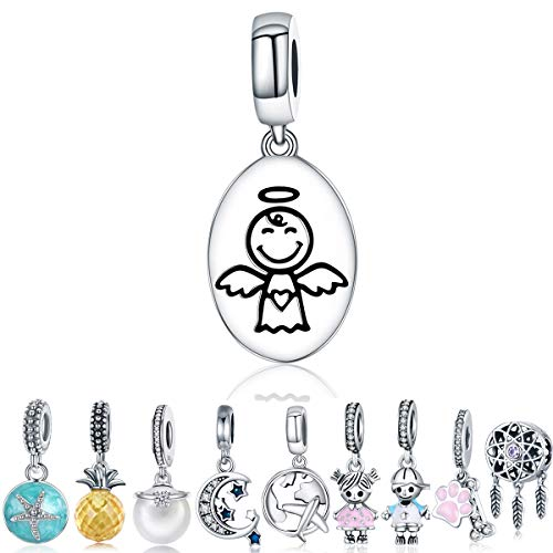 - WOSTU Guardian Angel Charms for Bracelet 925 Sterling Silver Birthday Dangle Charms Gifts for Women Girls