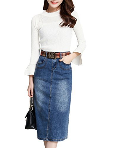 Fairyler Women's Denim Jean Retro Bust S - Wear Jean Skirt Shopping Results