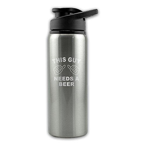 This Guy Needs A Beer 304 Stainless Steel Cycling Riding Outdoor Sports Water Bottle Camping (Easy Alcoholic Drinks For Halloween)