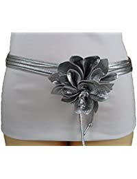 Women Tie Fabric Fashion Belt Silver Faux Leather Skinny Wrap Flower Buckle