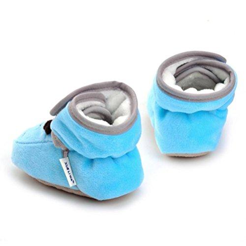 TPulling Mode Stylische Baby Boy Girl Solid Crib Schuhe Soft Sole Anti-Rutsch-Boot Himmel Blau