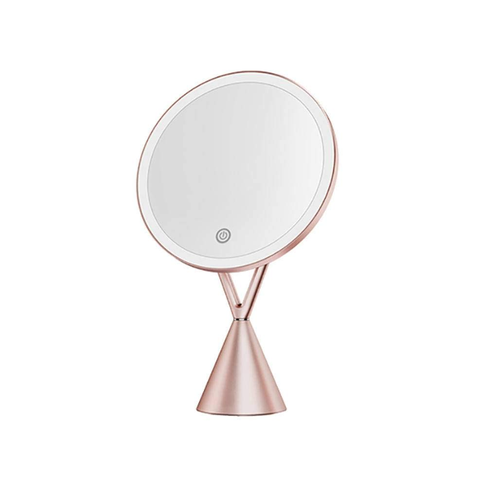 XINGV Makeup Vanity Mirror with LED Lighted, 5X Magnifying Mirror, Dimmable Touch Screen, Portable Illuminated Mirror for Travel
