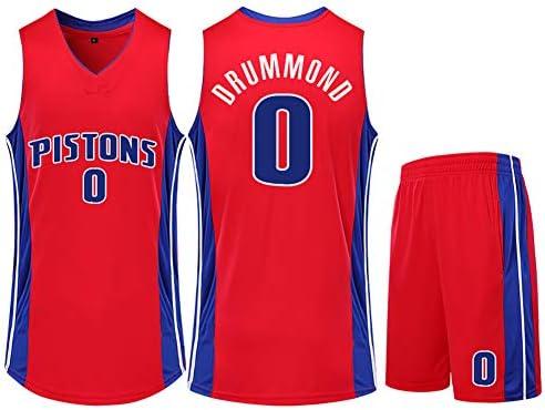 メンズバスケットボールジャージ、ピストンズドラモンド0バスケットボールジャージ、スウィングマンエディションジャージー、ノースリーブユニ