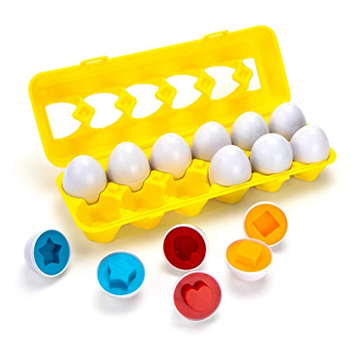 Apecks - Color Shapes Matching Egg Set - Toddler Toys - Educational Color, Shapes & Sorting Recognition Skills - Sorting Puzzle for Boys, Girls - Montessori]()