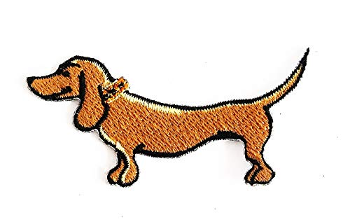 Mini Dachshund Cute Cartoon Dog 3X1.25 in MEGADEE Patch Cartoon Kids Symbol DIY Iron on Patch Iron-On Designer Patch Used for Gifts Crafts Jeans Clothing Fabric