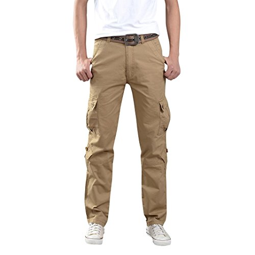 "Price comparison product image Aurorax Clearance Men's Casual Cargo Pants,  Multi-Pocket Sports Fitness Camo Work Pants (Khaki,  34=Waist:33.9"")"