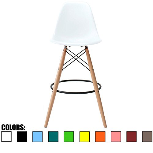 2xhome - 25 White Mid Century Modern Plastic Side Armless No Arms DSW Molded Shell Bar Stool Stools with Back Counter Height High Chairs Counter Wooden Wood Natural Eiffel Dowel Kitchen