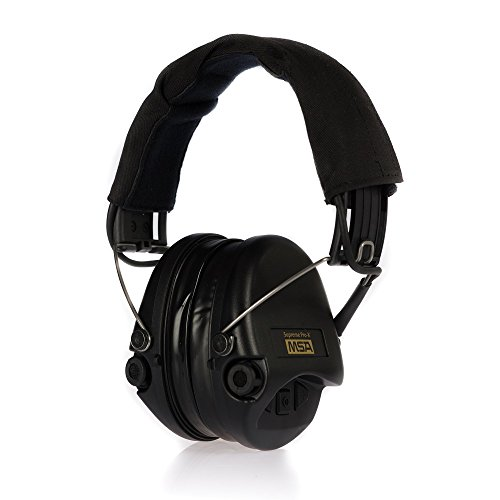 MSA Sordin Supreme Pro X - Premium Edition - Electronic Earmuff with black headband, black cups and gel seals fitted