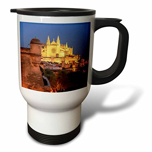 3dRose Danita Delimont - Churches - Spain, Mallorca, Palma de Mallorca. La Seu Gothic Cathedral. - 14oz Stainless Steel Travel Mug (tm_277911_1) by 3dRose
