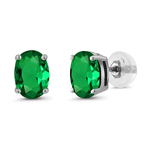 Gem Stone King 1.20 Ct Oval 7x5mm Green Simulated Emerald 14K White Gold Stud Basket Setting Earrings