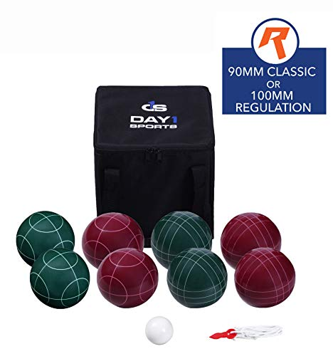 Bocce Ball Game Set for Adults, Families, and Kids – 90 mm Regulation Size- Complete Bocce Yard and Lawn Games with Carrying and Storage Case by Day 1 Sports and Rally & Roar - Fun Outdoor, Backyard -