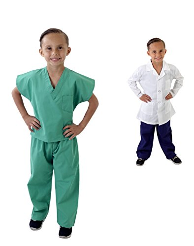Super Soft Children Scrub Set and Lab Coat Combo Kids Doctor Dress up (2/3, Surgical Green Set and White Lab Coat) -