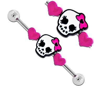 Girly Pink Hearts Goth Punk Skull w/ bow Surgical Steel Industrial Barbell bar body jewelry piercing ring Earring 32mm & 35mm & 38mm 14g 14 gauge