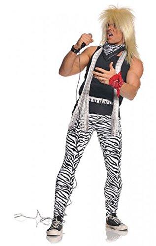 Eighties Rock Star Costume (Underwraps Men's 80's Rocker, Zebra/Black, One Size)
