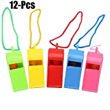 Noise Makers - 12pcs Whistles Noise Maker Colorful Favors Toy with Lanyards in Random Color - Assortment Gras Assorted Sports Sleep Baseball Tubes Electronic Instruments Birthday Years Events A