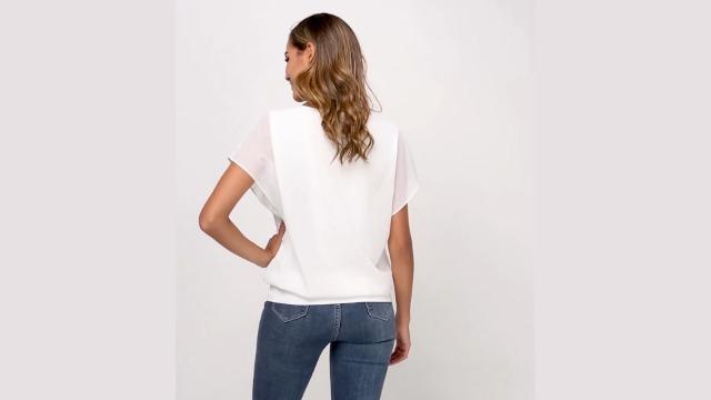 VIISHOW Women's Loose Casual Short Sleeve Chiffon Top T-Shirt Blouse 4