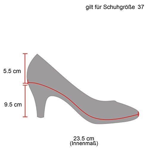 Stiefelparadies Klassische Damen Pumps Stilettos Abendschuhe Leder-Optik Glitzer Metallic Lack Schleifen Tanzschuhe Brautschuhe Flandell Schwarz Autol