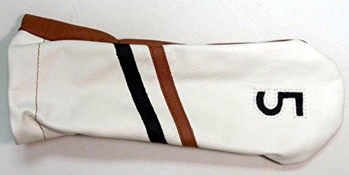 コジオスコ杖抱擁ステッチゴルフクラブレザー5フェアウェイウッド用ヘッドカバービクトリーストライプホワイトブラウンBLK