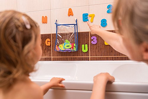 Gufolino Baby Bath Toys – 36 Foam Letters and Numbers + Bathtub Toys Organizer and Inflatable Waterproof Book for Toddlers