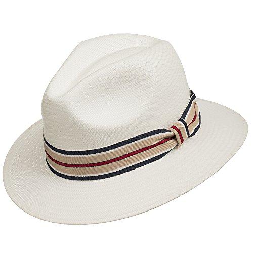 Ultrafino Trilby Fedora Straw Panama Hat WHITE WITH STRIP...