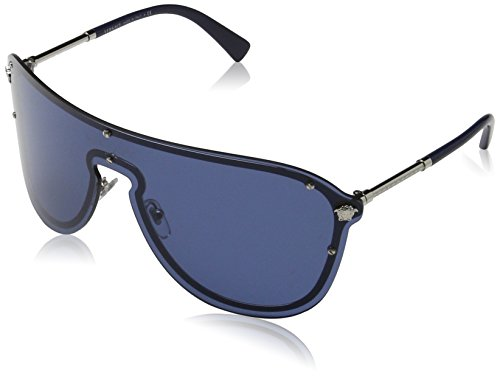 Versace Sunglasses Silver/Blue Metal - Non-Polarized - - Versace Sunglass Men For