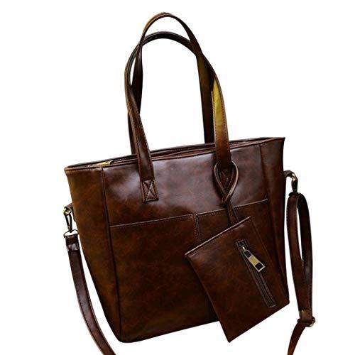 Moontang Borse a tracolla in pelle moda donna con corssbody Borsa e borsa + portafoglio frizione (Colore : Nero, Dimensione : A) Marrone