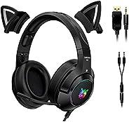 POTIKA Fones de ouvido para jogos 4D estéreo surround com orelhas de gato removíveis, fones de ouvido pretos p