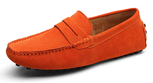 Eagsouni Men's Loafers Driving Boat Shoes Slip On Casual Moccasins Penny Suede Leather Flats Slippers Dress Shoes Fashion Orange