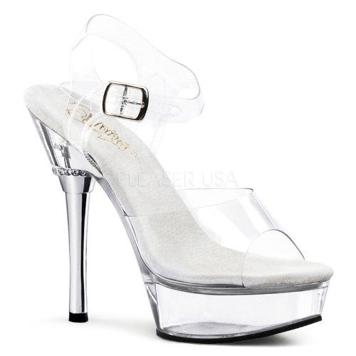 Pleaser Women's Allure-608/C/M Platform Sandal,Clear Polyvinyl Chloride,6 M US