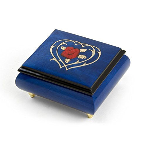 Radiant Blue Musical Jewelry Box With Double Heart and Red Rose Inlay - Wedding Song (There is Love) - SWISS (+$45) by MusicBoxAttic
