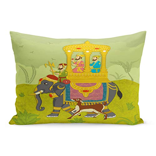 Semtomn Throw Pillow Covers Colorful Mughal King on Elephant Ride in Indian India Wedding Royal Pillow Case Cushion Cover Lumbar Pillowcase Decoration for Couch Sofa Bedding Car 20 x 30 ()