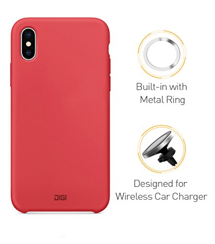 Magnetic Phone Case for iPhone X, Digi Liquid Silicone Gel Rubber Full Body Shockproof Drop Protection with Built-in Invisible Metal Ring Compatible with QI Magnetic Wireless Car Charger by digi marker