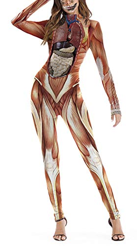GLUDEAR Human 1pc Skull Skeleton Print Catsuit Bodysuit Halloween Costumes Cosplay,Muscle,S]()