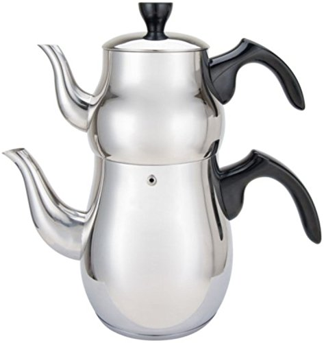 Double Tea Kettle Stainless Steel Teapot 2-Pc Set 2.5-Ltr + 1-Ltr Pot Samovar Turkish Style