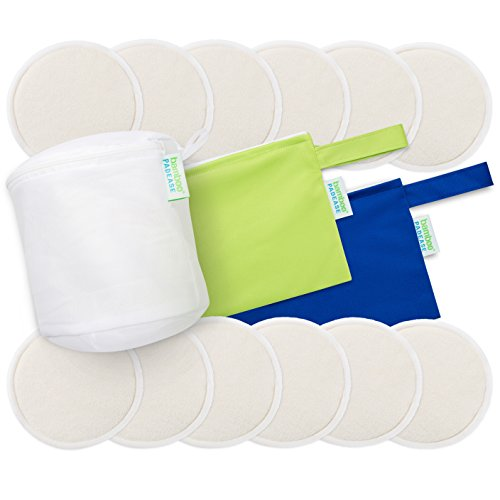 Reusable Nursing Pads: 4 Layers So Extremely Absorbent 12 Pack Organic Ultra Soft Breastfeeding Pads, Waterproof, Leakproof, Hypoallergenic, Washable Plus Laundry and 2 Travel Bags by Bamboo Padease (Nursing Pads Set)