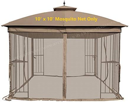 APEX GARDEN Universal 10 x 10 Mosquito Netting for Gazebo Replacement- Tan