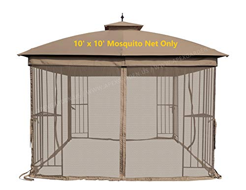 APEX GARDEN Universal 10' x 10' Gazebo Replacement Mosquito Netting (Mosquito Net Only, Size: 10 ft x 10 ft) (Tan) ()