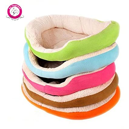 BOSUN(TM) Candy Color Round Dog Bed Soft Fleece Puppy Kennel Mat Detachable Dual